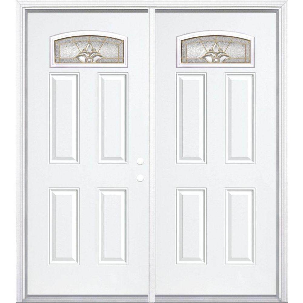 """72""""x80""""x6 9/16"""" Providence laiton d. lune cambré porte d'entrée moul. à brique m. gauche"""