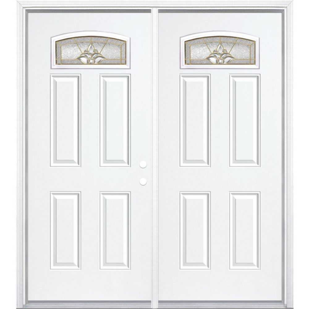 """64""""x80""""x6 9/16"""" Povidence laiton d. lune cambré porte d'entrée moul. à brique m. droite"""