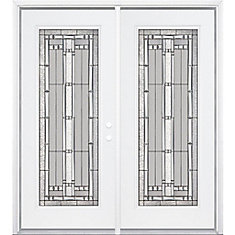 Masonite 72 Inch X 80 Inch X 4 9 16 Inch Antique Black Camber Full Lite Left Hand Entry Door
