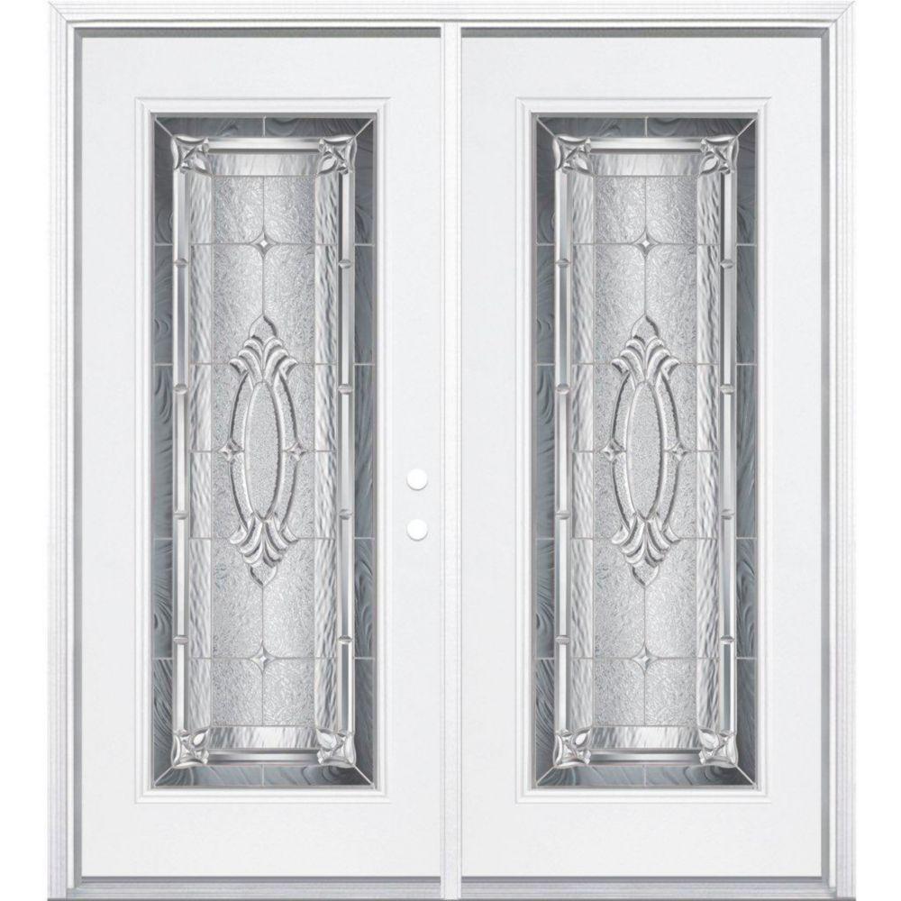 68-inch x 80-inch x 6 9/16-inch Nickel Full Lite Left Hand Entry Door with Brickmould