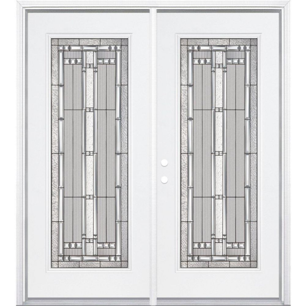 64-inch x 80-inch x 4 9/16-inch Antique Black Camber Full Lite Right Hand Entry Door with Brickmo...