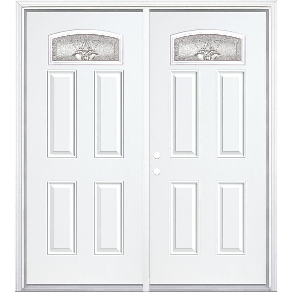 68-inch x 80-inch x 4 9/16-inch Nickel Camber Fan Lite Right Hand Entry Door with Brickmould