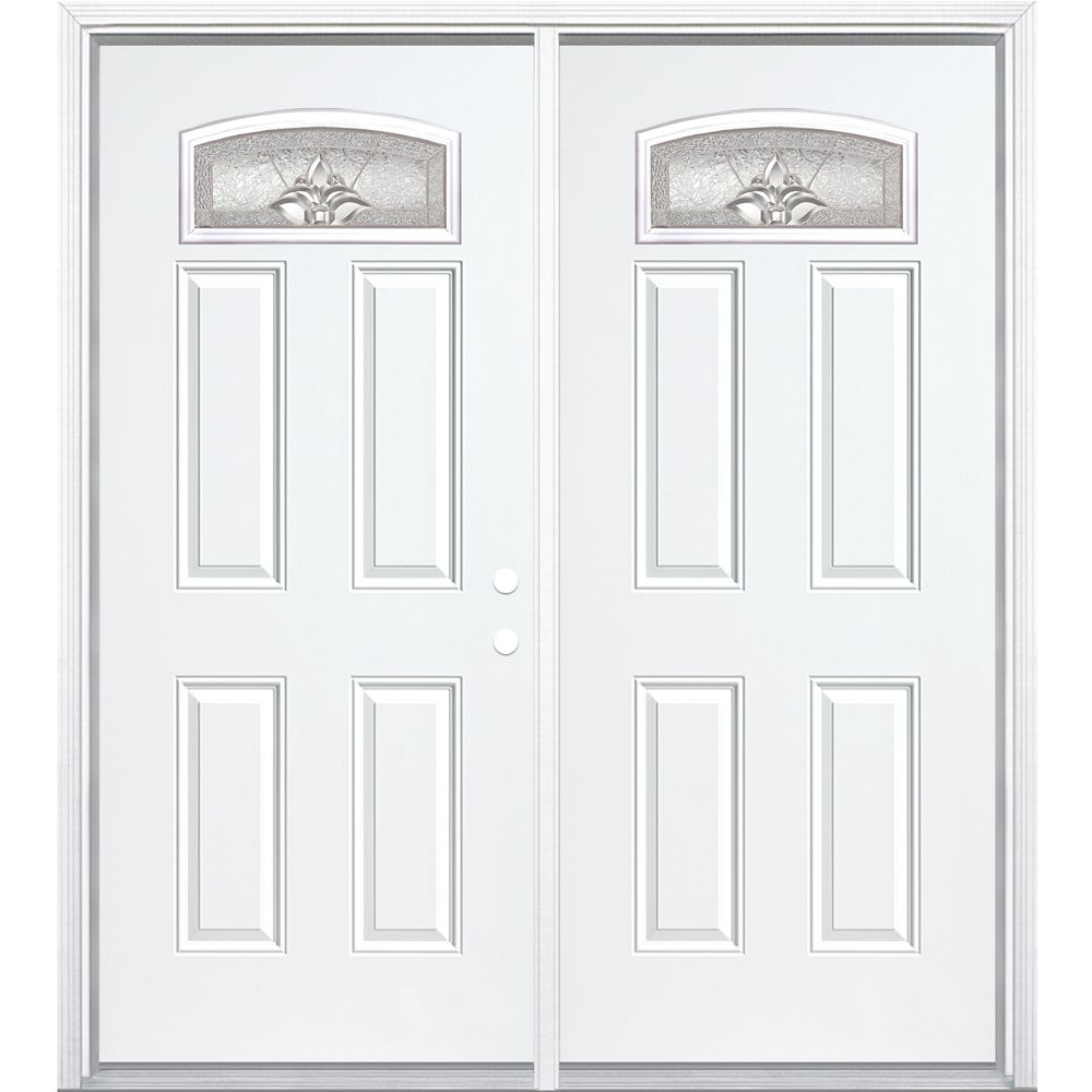 72-inch x 80-inch x 6 9/16-inch Nickel Camber Fan Lite Left Hand Entry Door with Brickmould