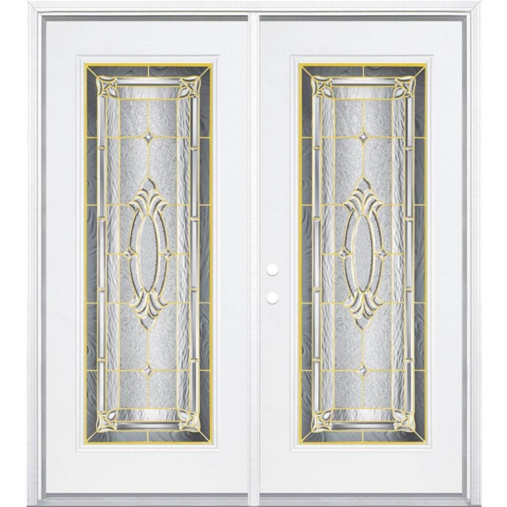 Masonite 72 Inch X 80 Inch X 6 9 16 Inch Brass Full Lite Right Hand Entry Door With Brickmould