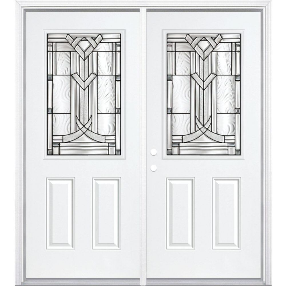 64-inch x 80-inch x 6 9/16-inch Antique Black 1/2-Lite Right Hand Entry Door with Brickmould