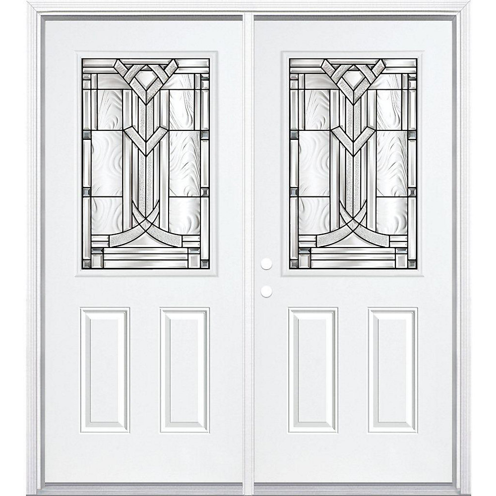 64-inch x 80-inch x 6 9/16-inch Antique Black 1/2-Lite Right Hand Entry Door with Brickmould - ENERGY STAR®