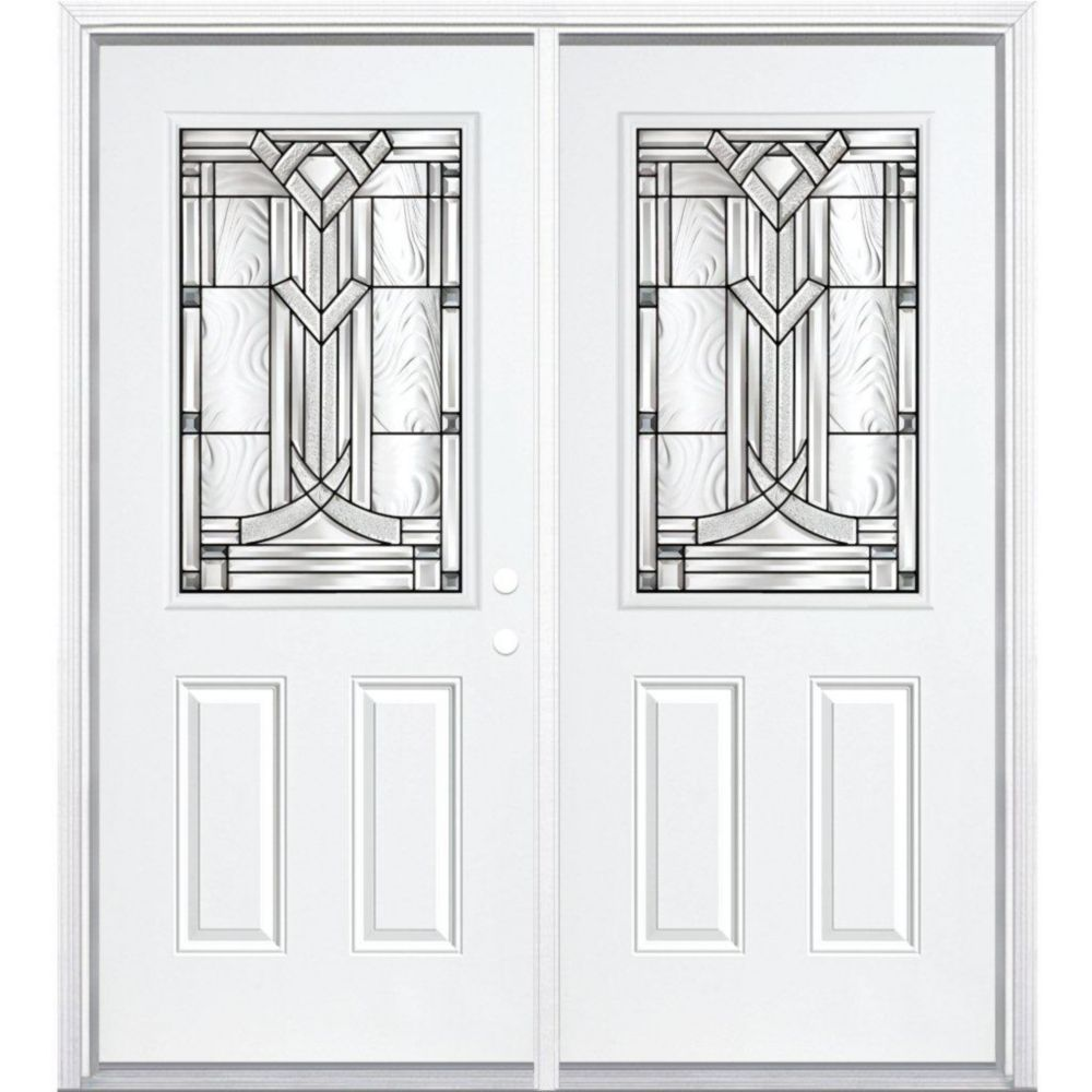 64-inch x 80-inch x 6 9/16-inch Antique Black 1/2-Lite Left Hand Entry Door with Brickmould