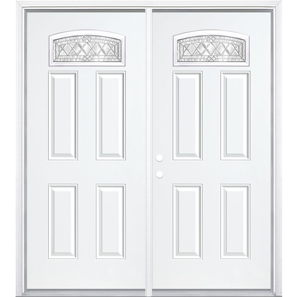 64-inch x 80-inch x 4 9/16-inch Nickel Camber Fan Lite Right Hand Entry Door with Brickmould
