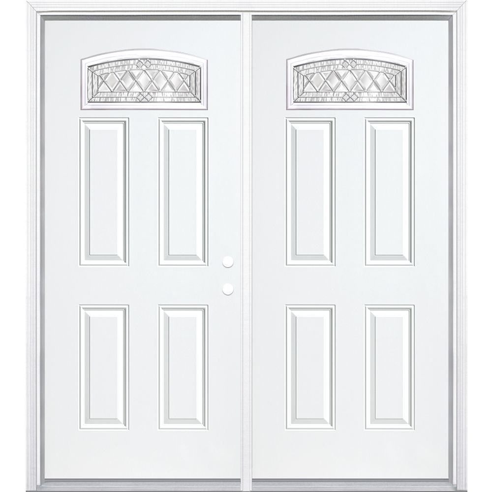 68-inch x 80-inch x 4 9/16-inch Nickel Camber Fan Lite Left Hand Entry Door with Brickmould