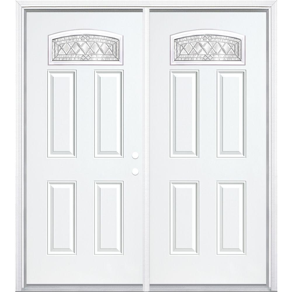 72-inch x 80-inch x 4 9/16-inch Nickel Camber Fan Lite Left Hand Entry Door with Brickmould