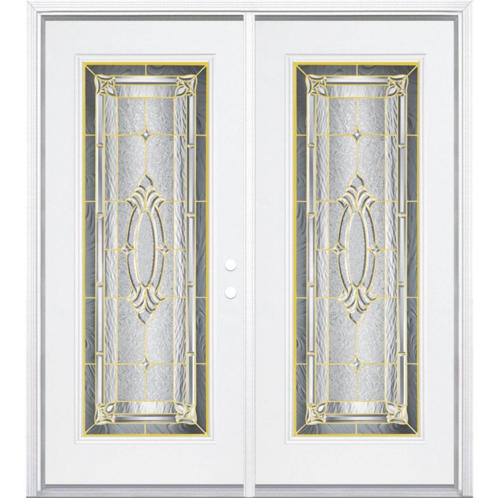 "72""x80""x6 9/16"" Providence Brass Full Lite Left Hand Entry Door with Brickmould"