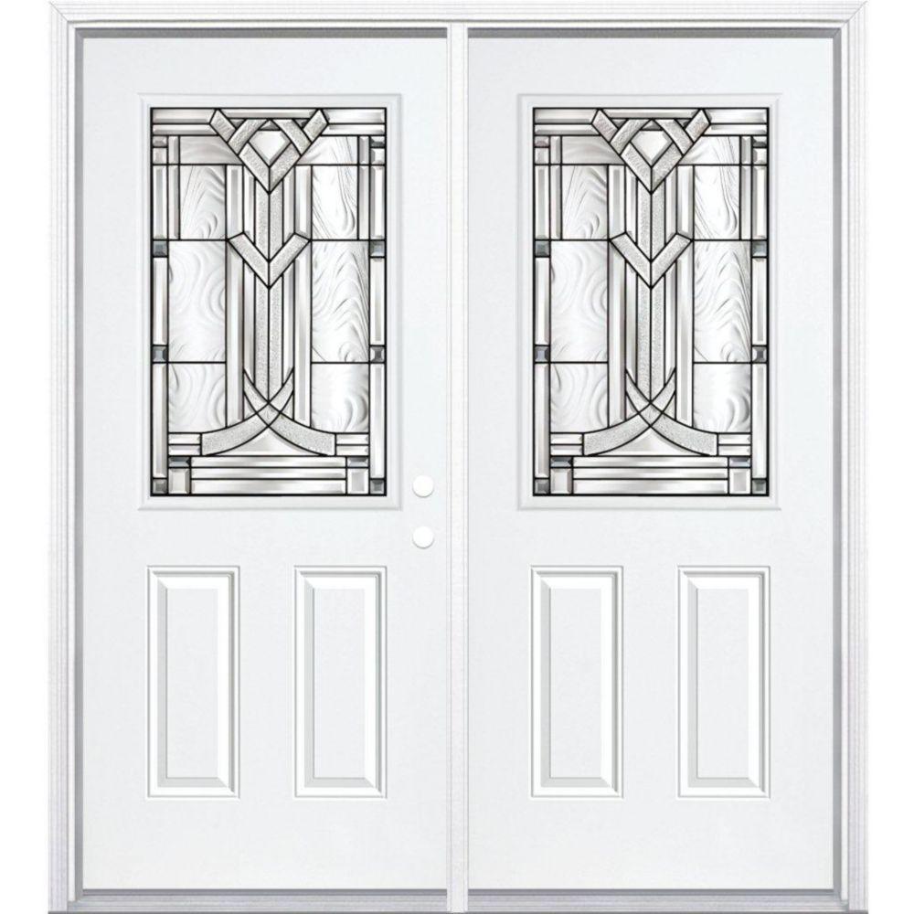 """72""""x80""""x6 9/16"""" Chatham noir antique demi verre porte d'entrée moulure à brique m. gauche"""