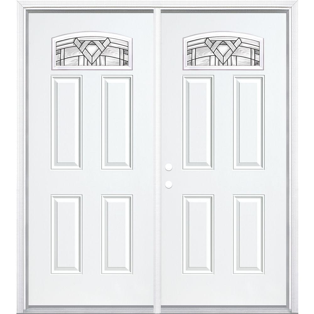 """72""""x80""""x6 9/16"""" Chatham noir antique d. lune cambré porte d'entrée moul. à brique m. droite"""