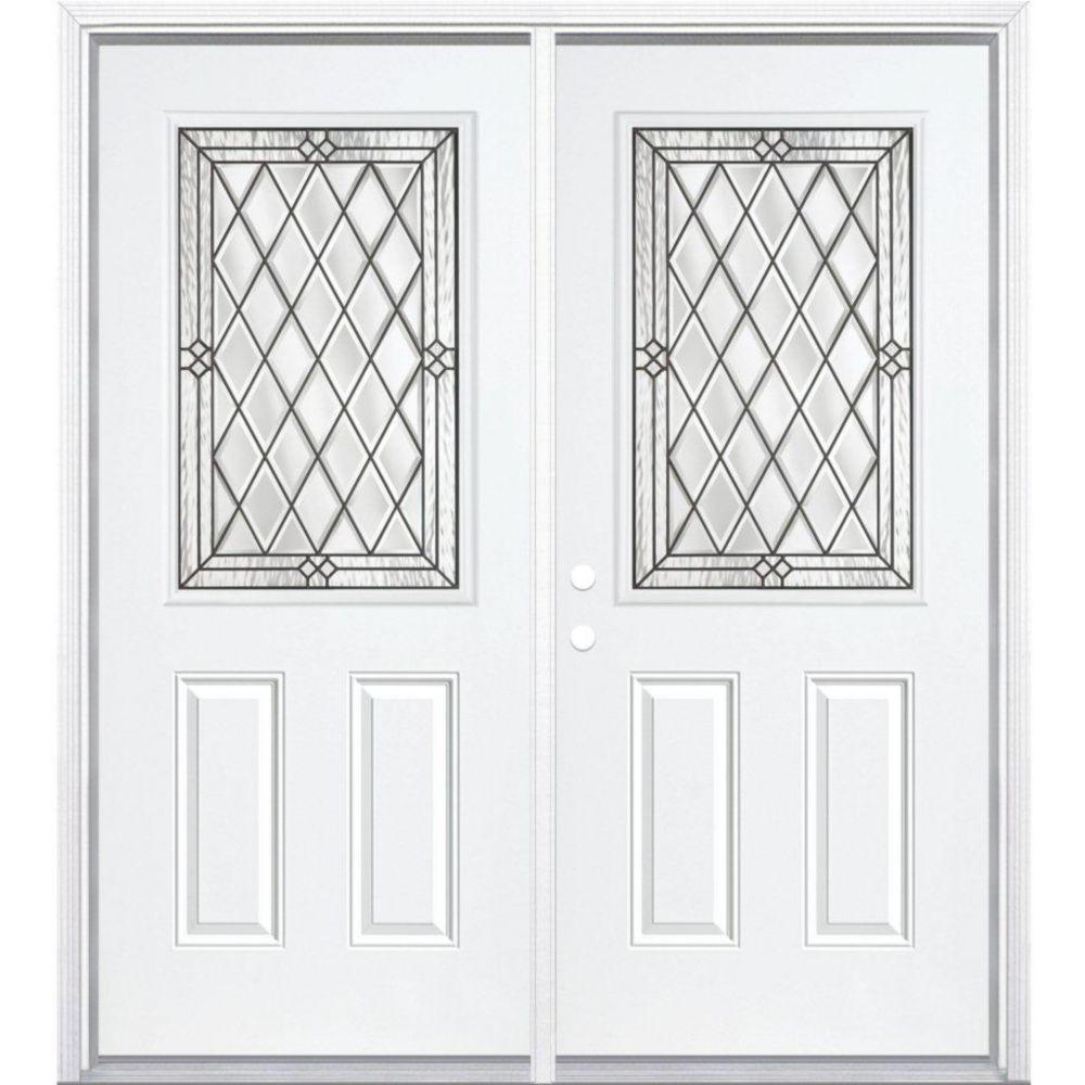"""72""""x80""""x4 9/16"""" Halifax noir antique demi ver. porte d'entrée moulure à brique m. droite"""