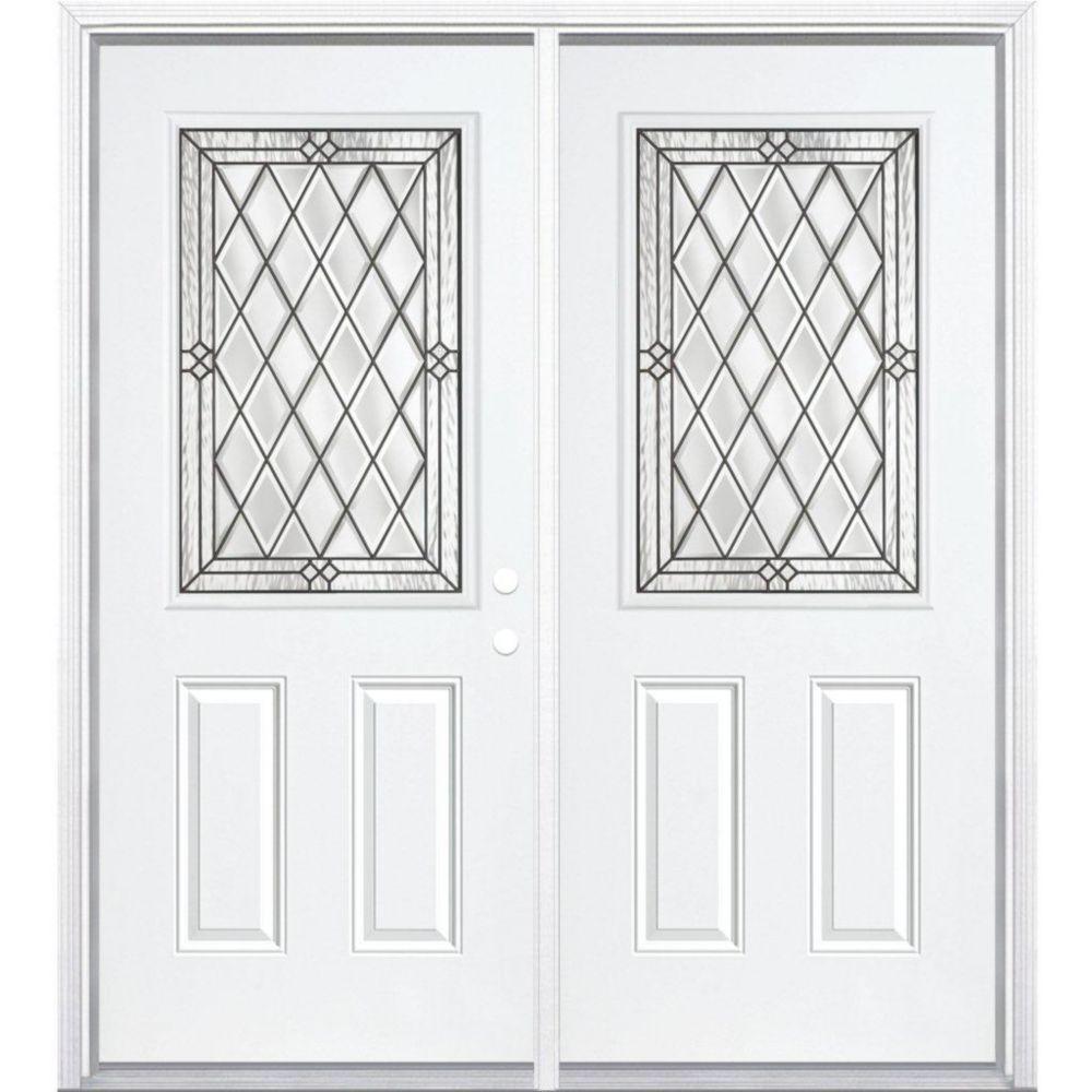 "72""x80""x4 9/16"" Halifax Antique Black Half Lite Left Hand Entry Door with Brickmould"