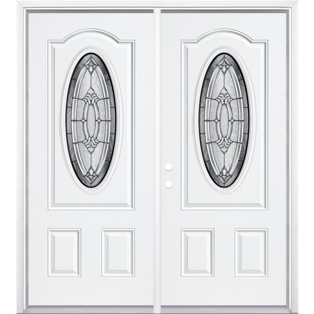 72-inch x 80-inch x 6 9/16-inch Antique Black 3/4 Oval Lite Right Hand Entry Door with Brickmould