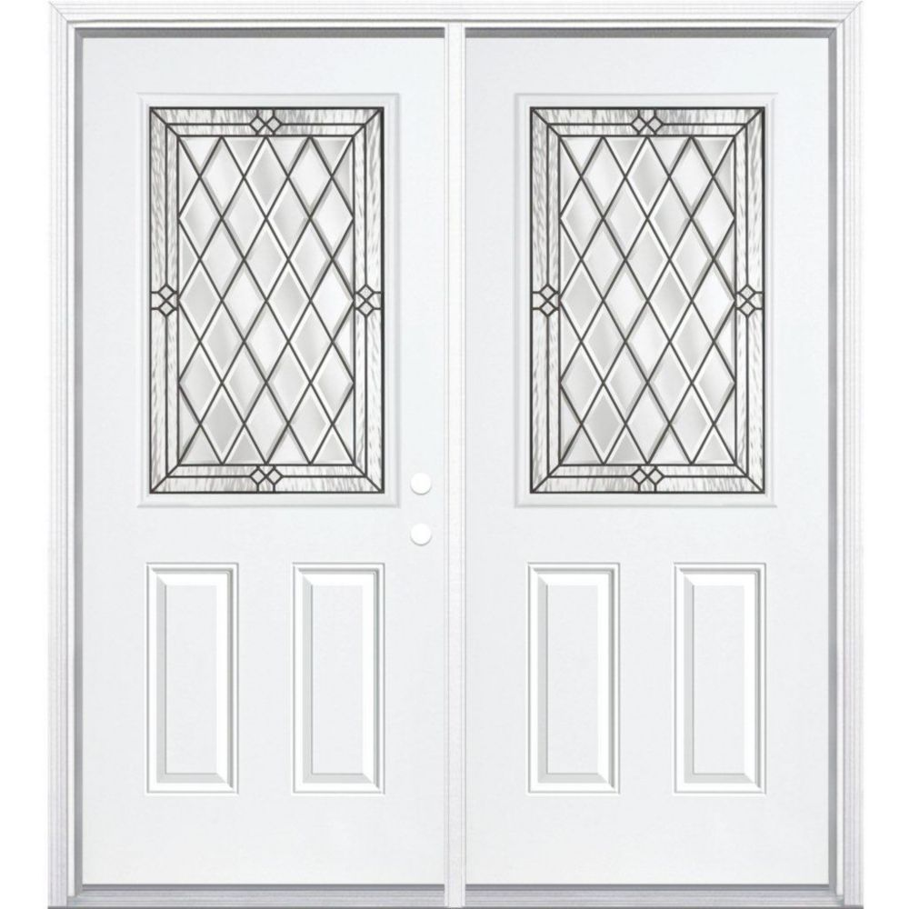 72-inch x 80-inch x 6 9/16-inch Antique Black 1/2-Lite Left Hand Entry Door with Brickmould