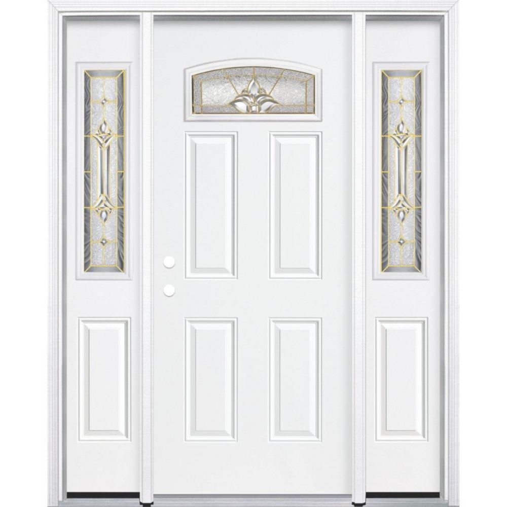 67-inch x 80-inch x 4 9/16-inch Brass Camber Fan Lite Right Hand Entry Door with Brickmould