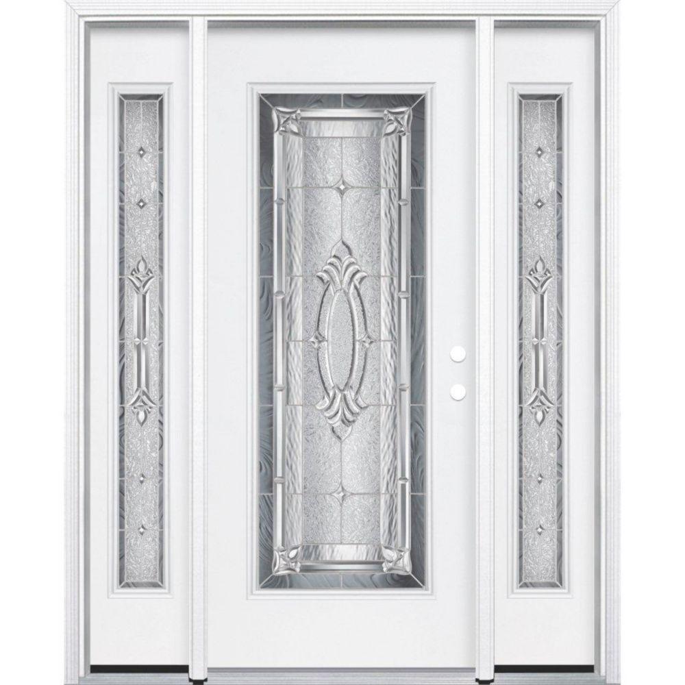 69-inch x 80-inch x 4 9/16-inch Nickel Full Lite Left Hand Entry Door with Brickmould