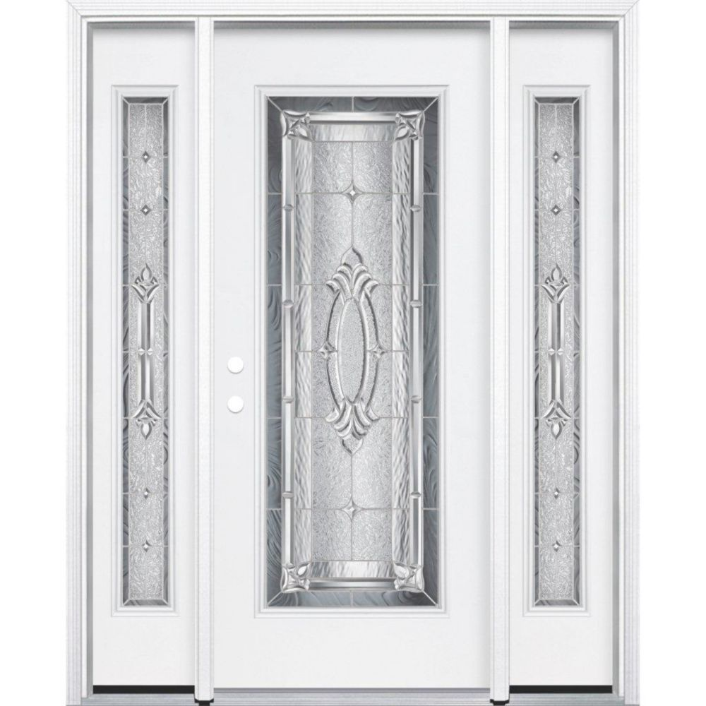 69-inch x 80-inch x 4 9/16-inch Nickel Full Lite Right Hand Entry Door with Brickmould