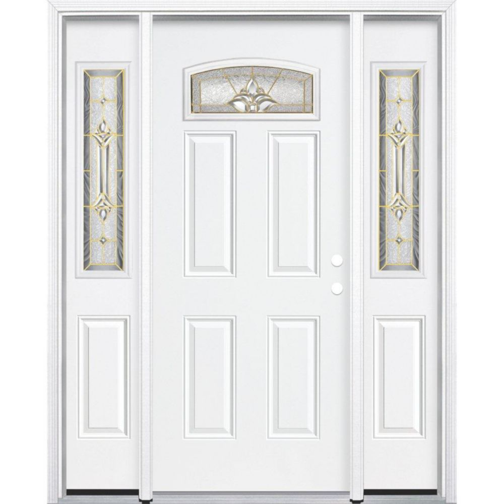 67-inch x 80-inch x 4 9/16-inch Brass Camber Fan Lite Left Hand Entry Door with Brickmould