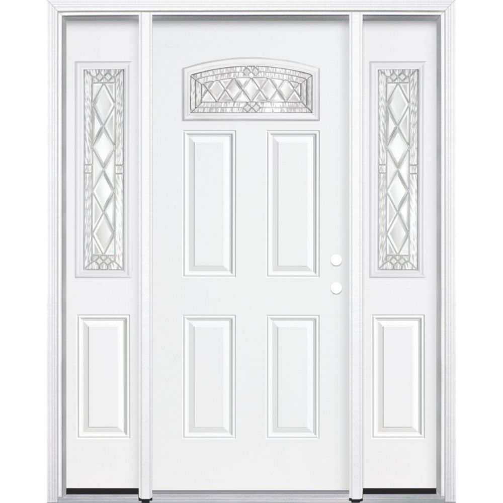 67-inch x 80-inch x 6 9/16-inch Nickel Camber Fan Lite Left Hand Entry Door with Brickmould