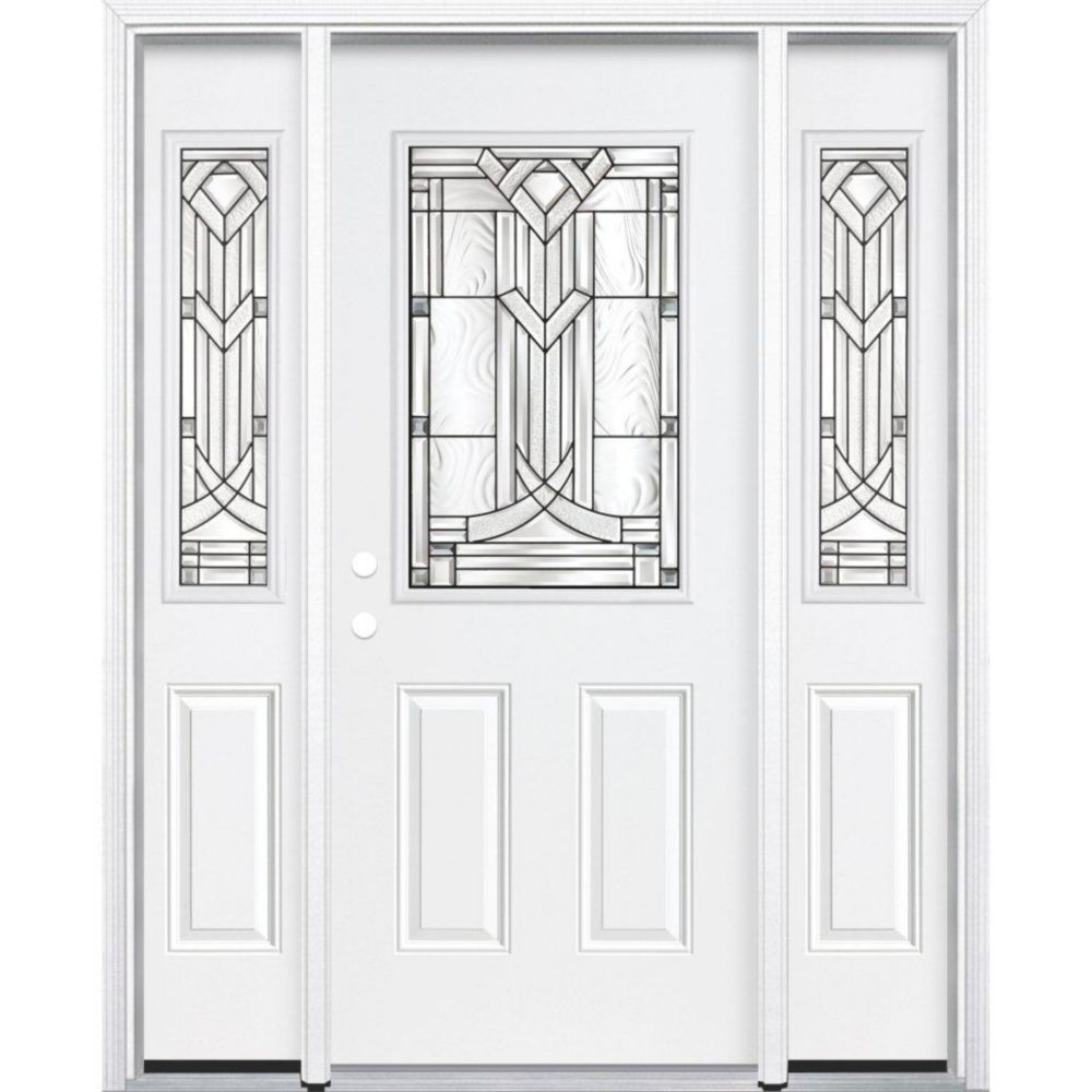 67-inch x 80-inch x 4 9/16-inch Antique Black 1/2-Lite Right Hand Entry Door with Brickmould