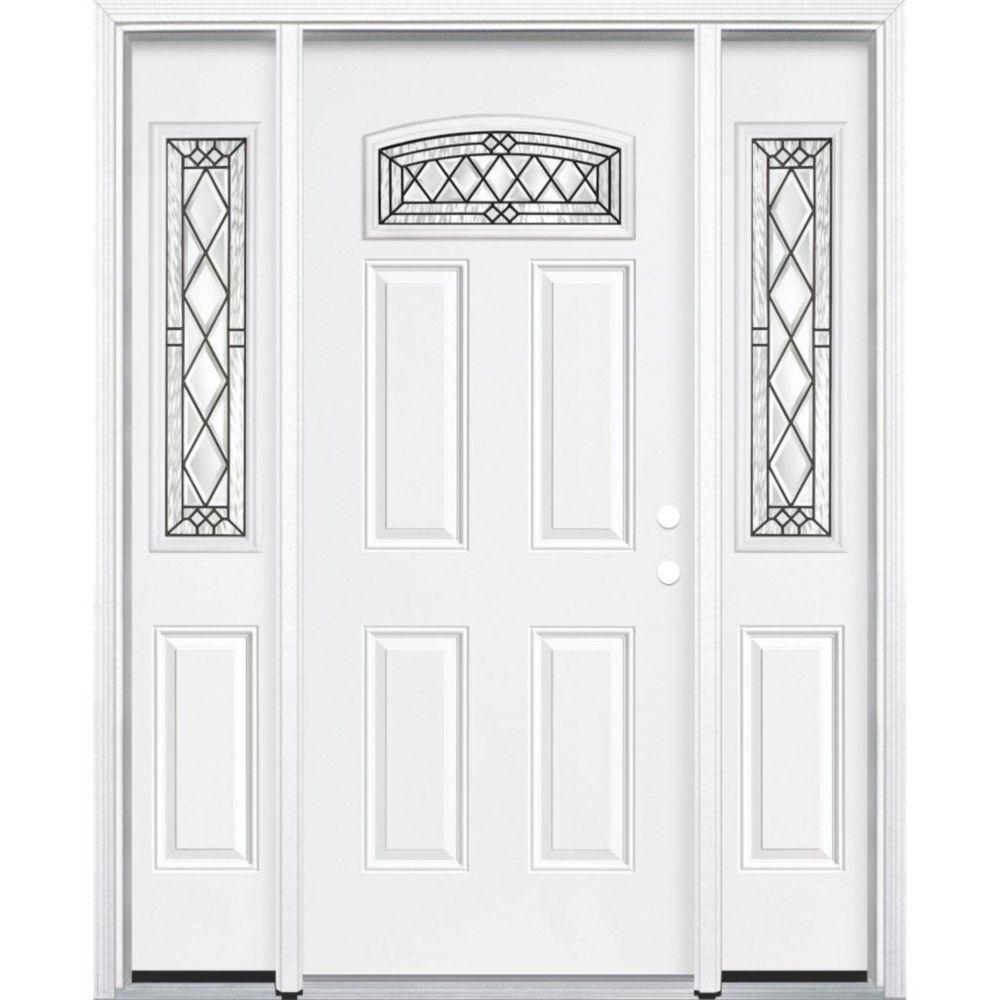 """65""""x80""""x6 9/16"""" Halifax noir antique d. lune cambré porte d'entrée moul. à brique m. gauche"""