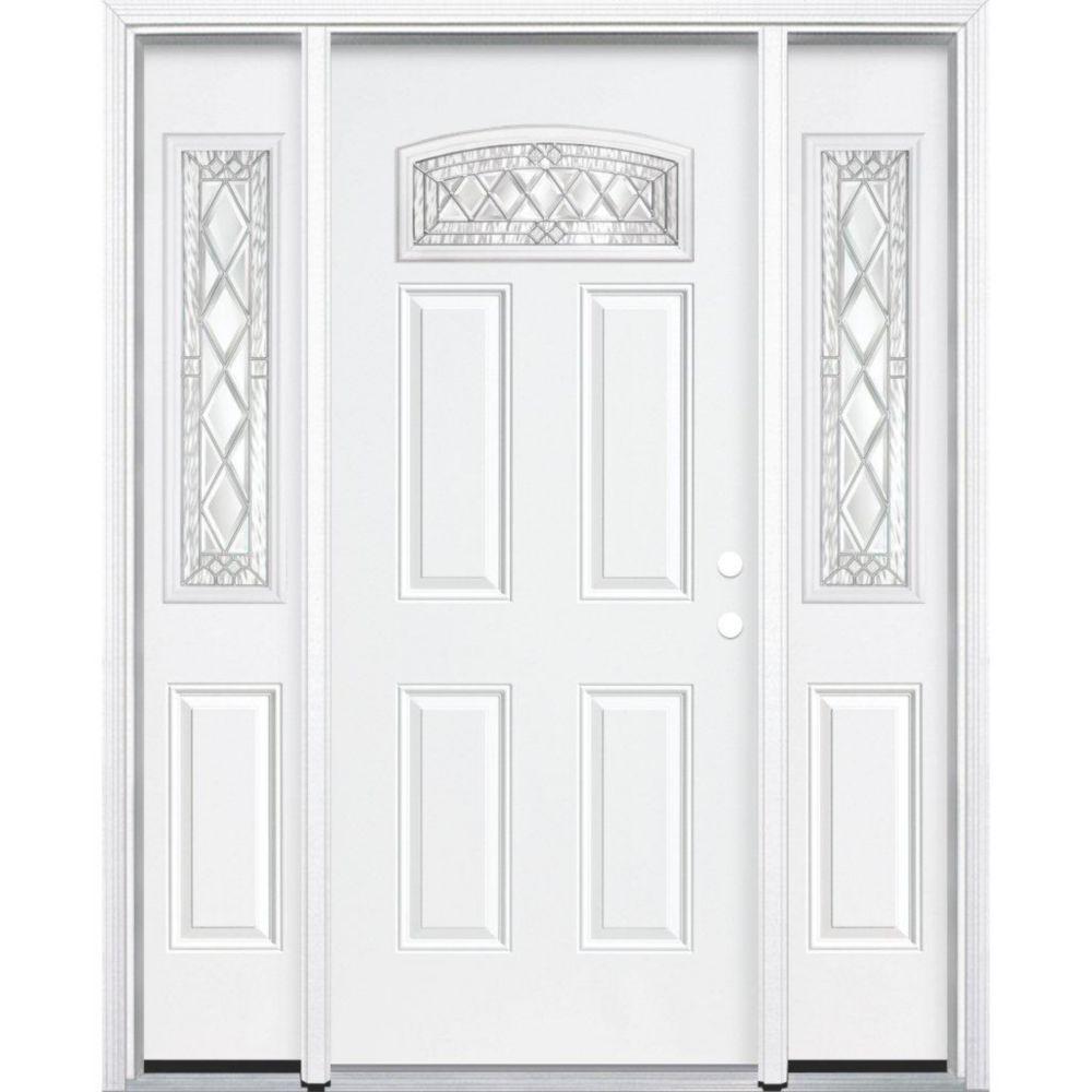 67-inch x 80-inch x 4 9/16-inch Nickel Camber Fan Lite Left Hand Entry Door with Brickmould