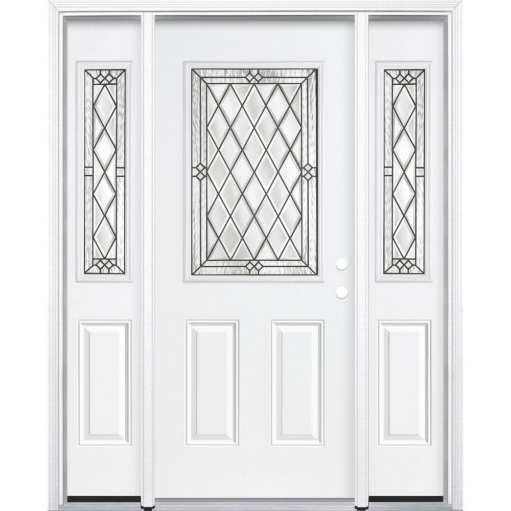 67-inch x 80-inch x 4 9/16-inch Antique Black 1/2-Lite Left Hand Entry Door with Brickmould