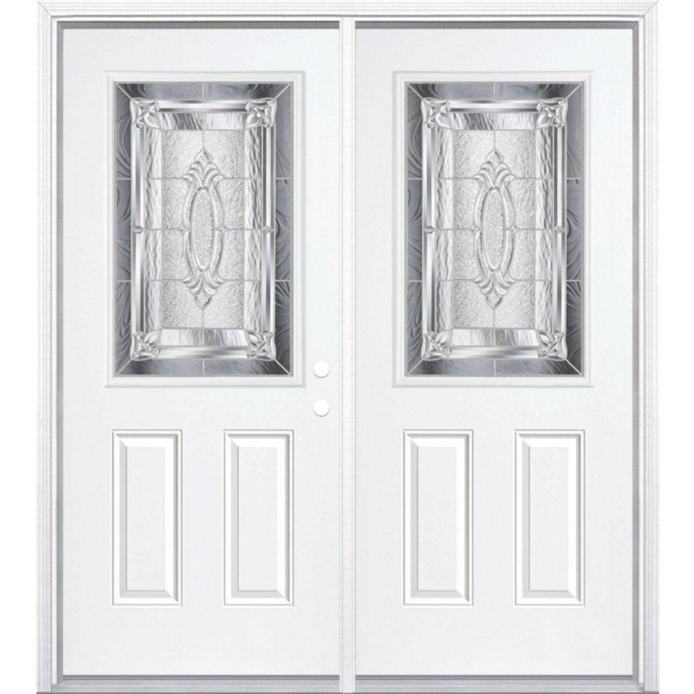 68-inch x 80-inch x 6 9/16-inch Nickel 1/2-Lite Left Hand Entry Door with Brickmould
