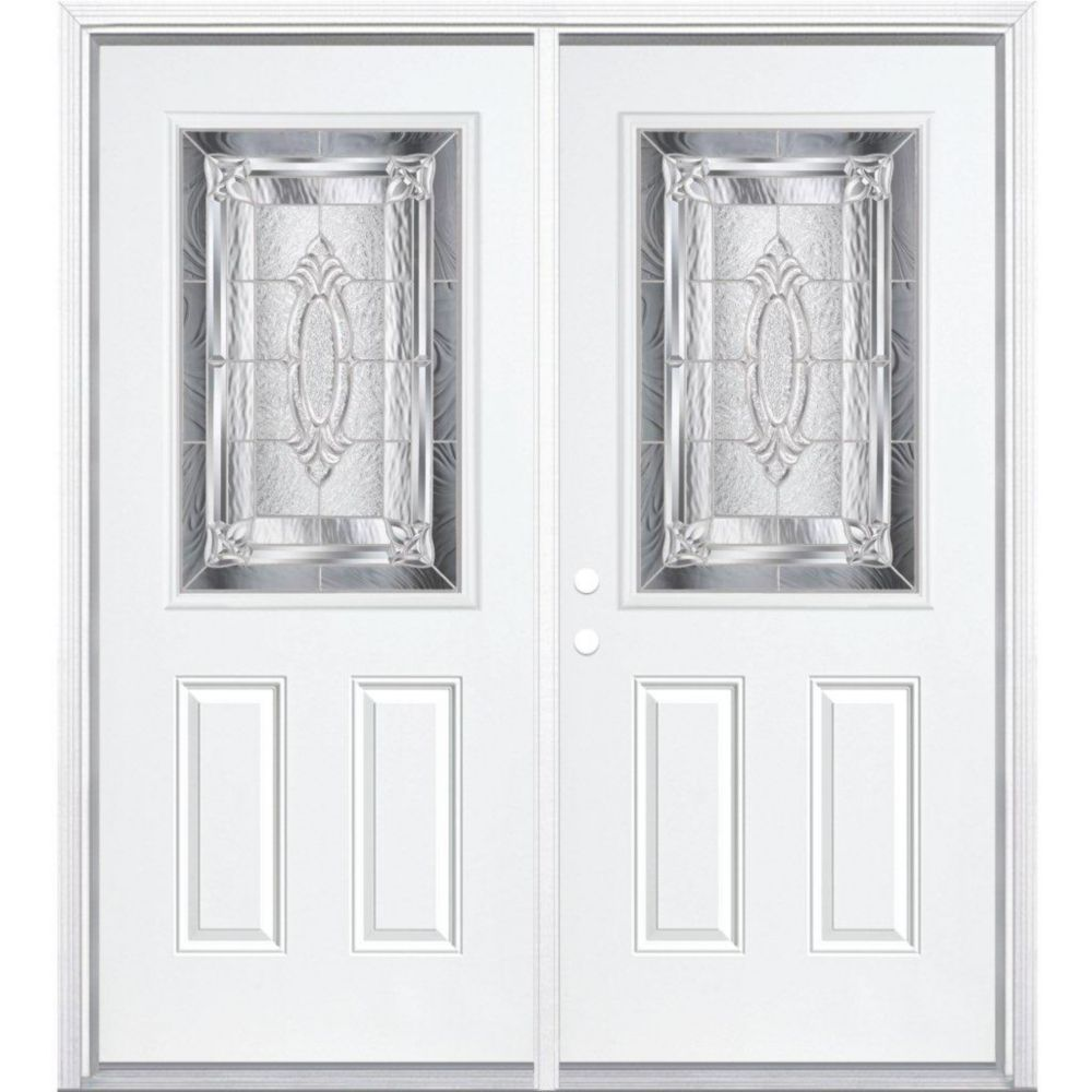 64-inch x 80-inch x 6 9/16-inch Nickel 1/2-Lite Right Hand Entry Door with Brickmould
