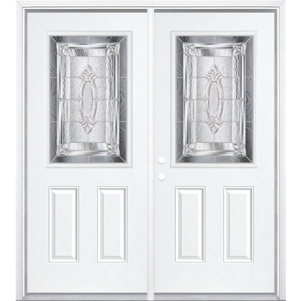 """72""""x80""""x6 9/16 Providence nickel demi ver. porte d'entrée moulure à brique m. gauche"""