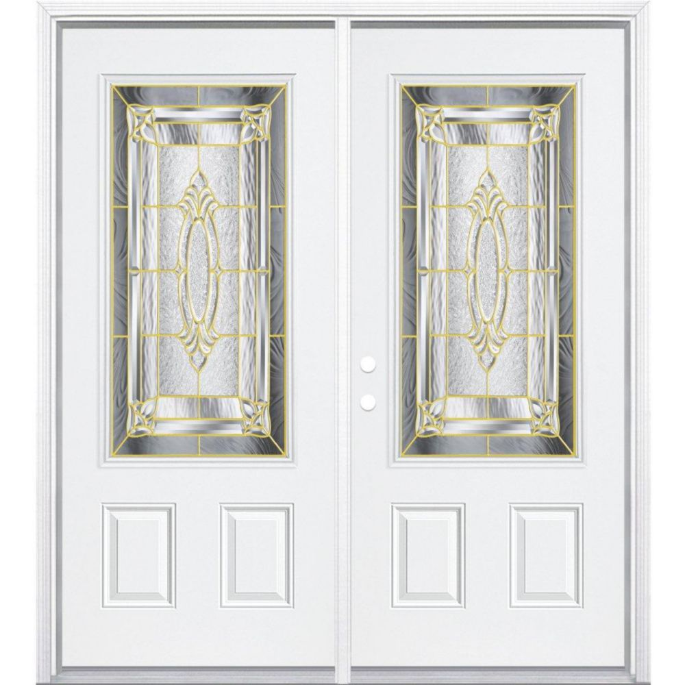 64-inch x 80-inch x 6 9/16-inch Brass 3/4-Lite Right Hand Entry Door with Brickmould