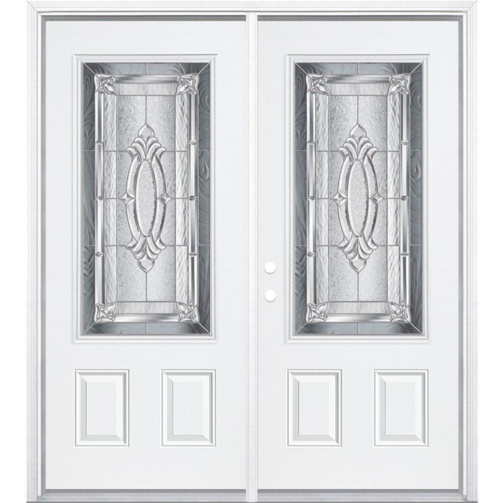 68-inch x 80-inch x 6 9/16-inch Nickel 3/4-Lite Right Hand Entry Door with Brickmould