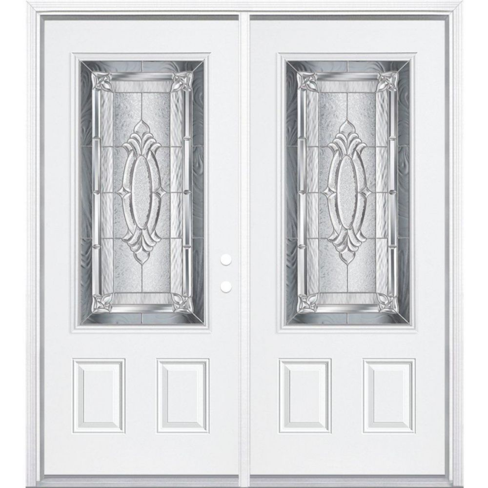 64-inch x 80-inch x 6 9/16-inch Nickel 3/4-Lite Left Hand Entry Door with Brickmould
