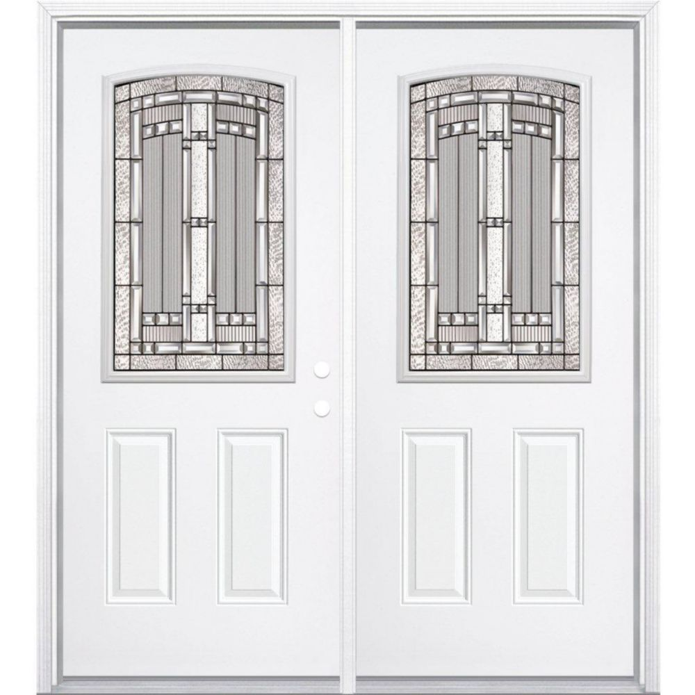64-inch x 80-inch x 4 9/16-inch Antique Black Camber 1/2-Lite Left Hand Entry Door with Brickmoul...