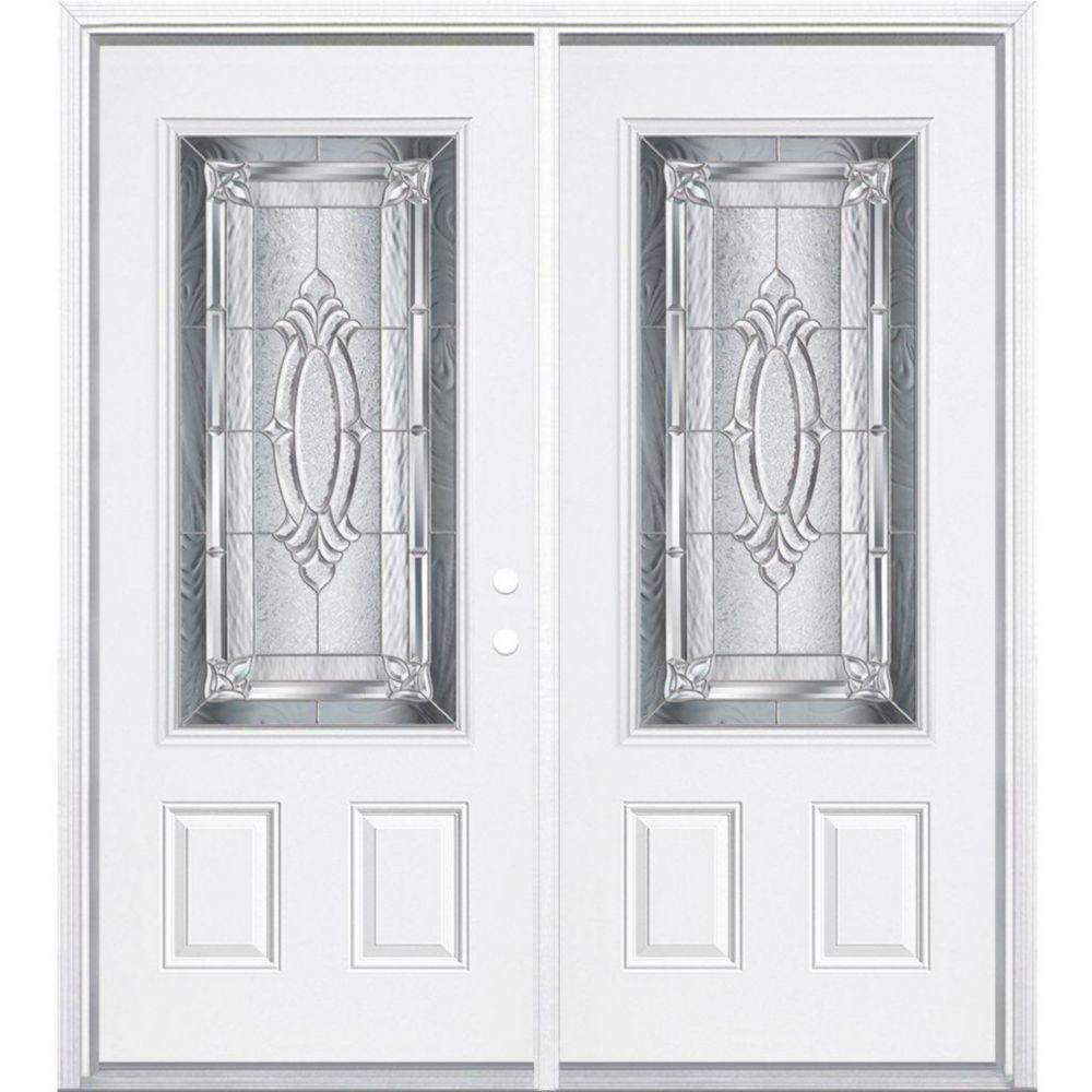 64-inch x 80-inch x 4 9/16-inch Nickel 3/4-Lite Left Hand Entry Door with Brickmould