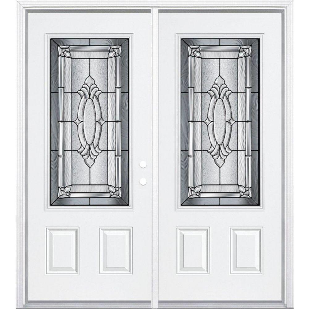 """72""""x80""""x 4 9/16"""" Providence noir antique ver. 3/4 porte d'entrée moulure à brique m. gauche"""