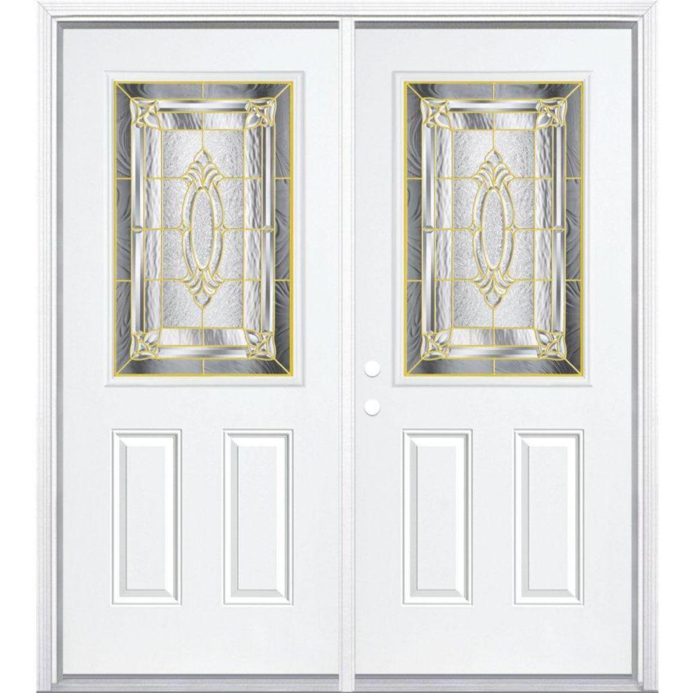 Masonite 72 inch x 80 inch x 4 9 16 inch brass 1 2 lite for 72 x 80 exterior door
