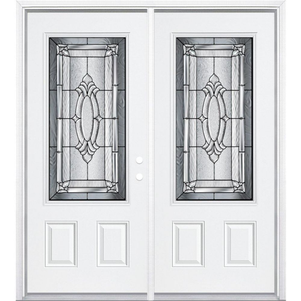64-inch x 80-inch x 4 9/16-inch Antique Black 3/4-Lite Left Hand Entry Door with Brickmould
