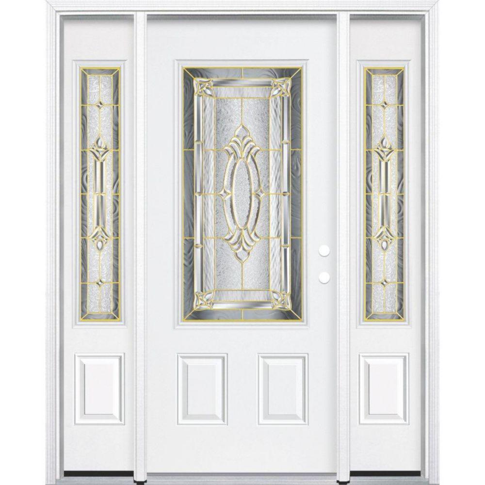 69-inch x 80-inch x 6 9/16-inch Brass 3/4-Lite Left Hand Entry Door with Brickmould
