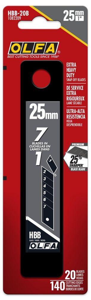 25Mm Ultrasharp Snap-Off Black Blade, 20Pk