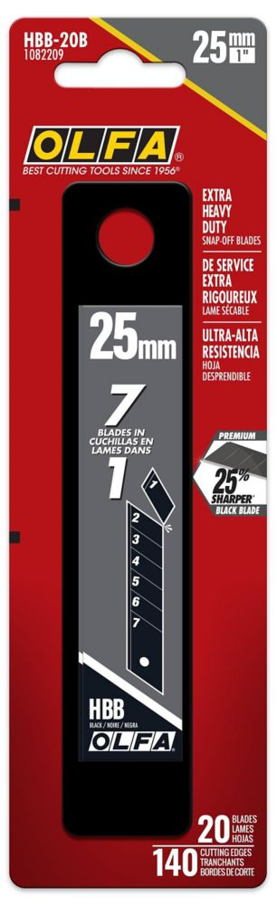 Olfa 25Mm Ultrasharp Snap-Off Black Blade, 20Pk