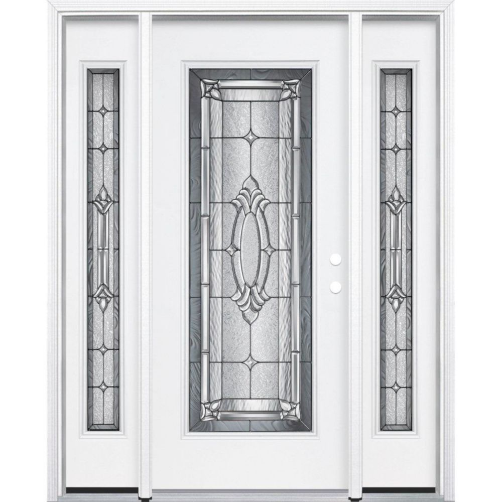 65-inch x 80-inch x 6 9/16-inch Antique Black Full Lite Left Hand Entry Door with Brickmould
