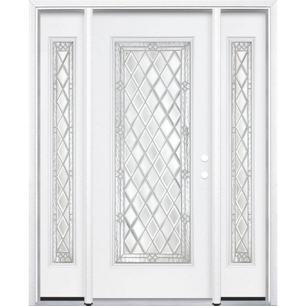 65-inch x 80-inch x 6 9/16-inch Nickel Full Lite Left Hand Entry Door with Brickmould