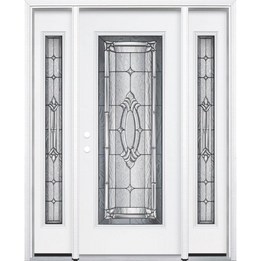 65-inch x 80-inch x 6 9/16-inch Antique Black Full Lite Right Hand Entry Door with Brickmould