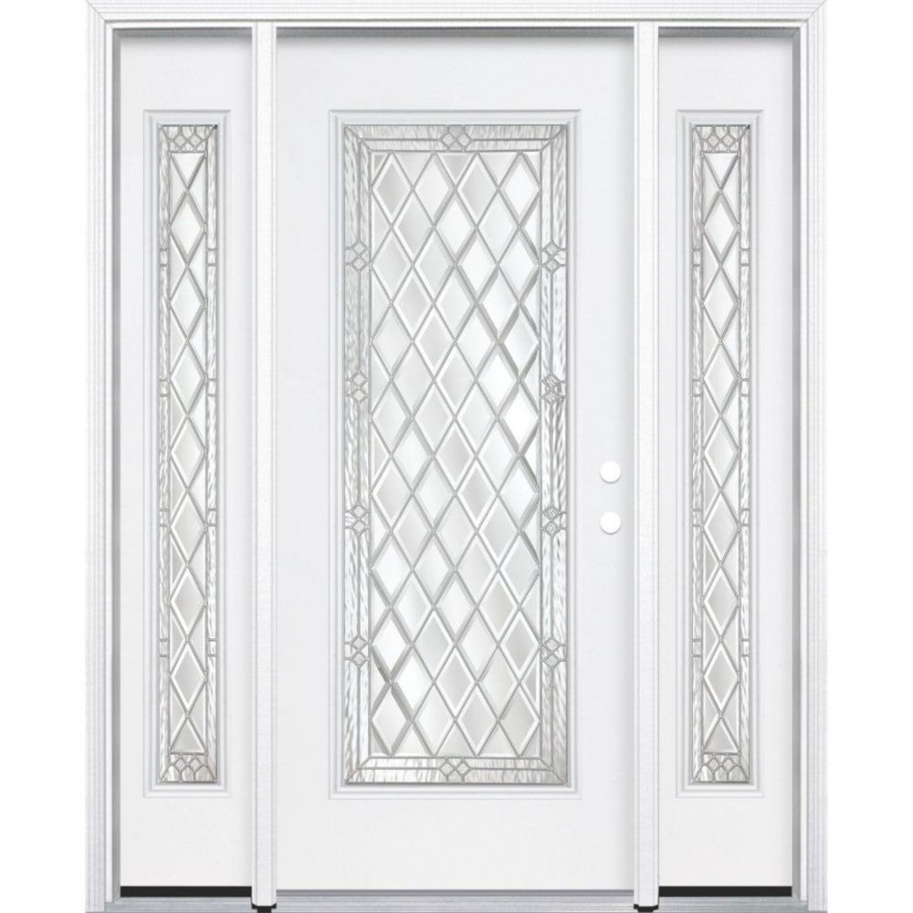 "67""x80""x4 9/16"" Halifax Nickel Full Lite Left Hand Entry Door with Brickmould"