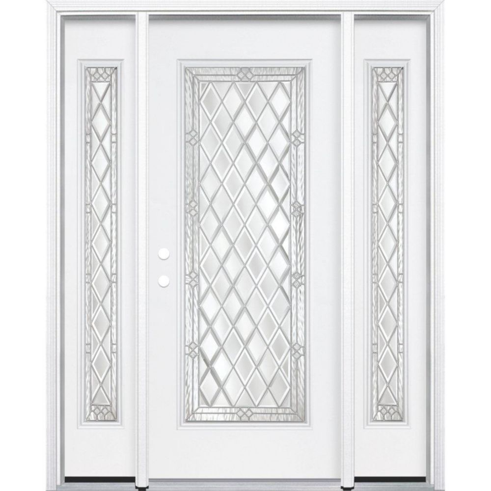 """67""""x80""""x4 9/16"""" Halifax Nickel Full Lite Right Hand Entry Door with Brickmould"""