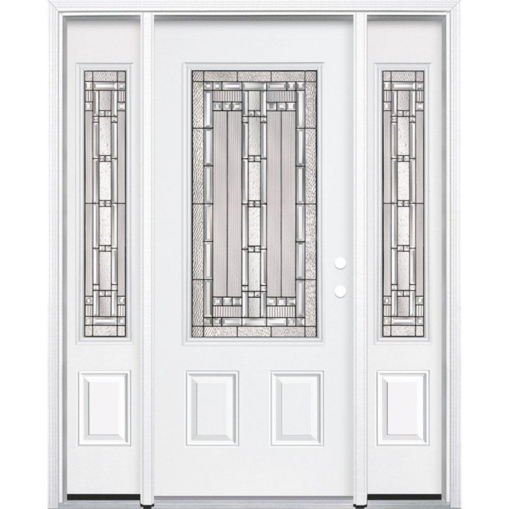 69-inch x 80-inch x 6 9/16-inch Antique Black 3/4-Lite Left Hand Entry Door with Brickmould